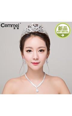 Bride Headdress Korean Simple Crown Micro-Mosaic Necklace Earrings Suit Wedding Accessories