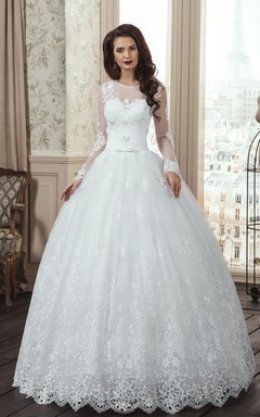 A-Line Long Sleeve Tulle Lace Dress With Flower Illusion Lace-Up Back