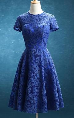 Short Knee-length Lace&Satin Dress