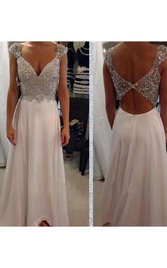 A-Line Princess Sleeveless V-neck Chiffon Beading Floor-Length Dresses