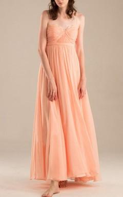 Floor-length Spaghetti Strapped Sweetheart Chiffon Dress