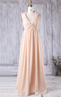 Empire Floor-length V-neck Empire Chiffon Dress