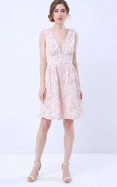 Plunging Neckline Sleeveless A-Line Short Dress