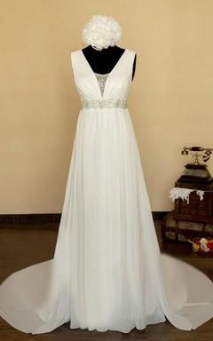 V-Neck Lace-Up Back Chiffon Wedding Dress With Sash And Crystal Detailing