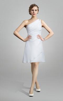One Shoulder Chiffon Short Wedding Dress