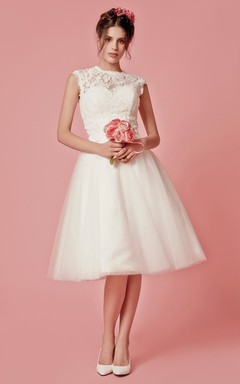 Cap Sleeved A-Line Knee Length Wedding Dress With Jacket
