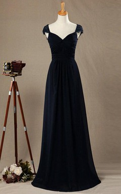 2016 Cap Sleeve Lace Bridesmaid Dress