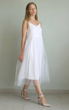 Spaghetti Sleeveless A-Line Tulle Dress With Appliques