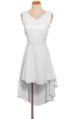 Sleeveless V-neck High-low Layered Chiffon Dress