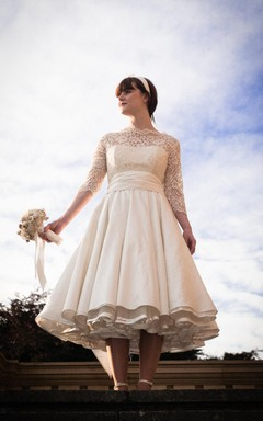 1950S High Neck Long Sleeve Pleated A-Line Tea Length Taffeta Wedding Dress