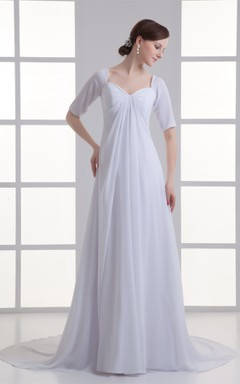 Short-Sleeve Empire Chiffon Maxi Dress with Draping and Sweep Train