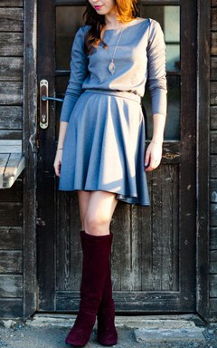 Mini Casual Grey With Circular Skirt Dress