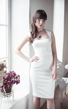 Sexy Square Neck Sleeveless Short Fitted Satin Dress With Bow