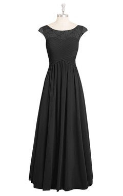 A-Line Cap Sleeve Long Chiffon Dress With Lace Top and Ruching