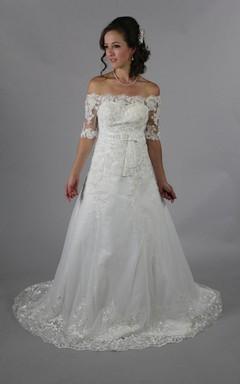 Princess Look Off-Shoulder Long Wedding Dress With Beading