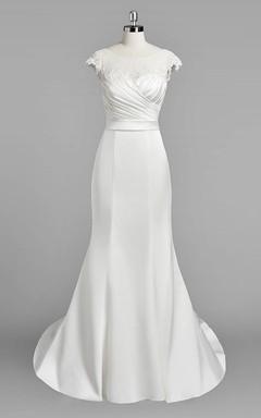 Bateau Neck Cap Sleeve Mermaid Satin Wedding Dress With Ruching
