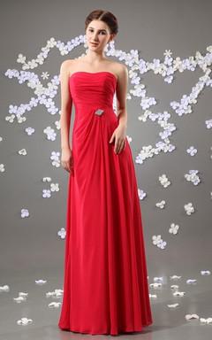 Chiffon Strapless Maxi Dress With Beaded Embellishment