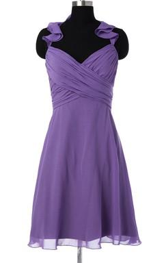 Purple Bridesmaid Short Chiffon Convertible Prom Hanging Neck Bridesmaid Dress
