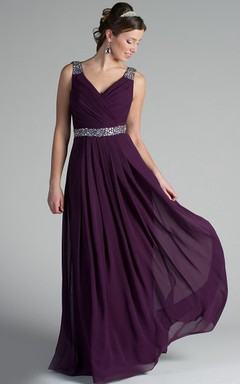 bee4b809c2a9d V Neck Back Dropping Chiffon Long Bridesmaid Dress With Crystal Straps And  Waist