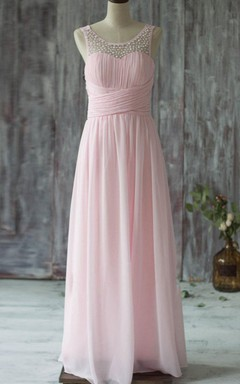 Floor-length Scoop Chiffon&Tulle Dress With Beading&Illusion&Low-V Back