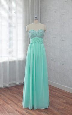 Sweetheart A-line Chiffon Wedding Dress With Beading And PLeats