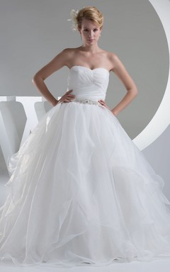 Strapless Criss-Cross Tulle A-Line Dress With Beaded Waist