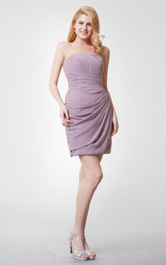 Lovely Sweetheart Ruched Mini Chiffon Dress With Side Draping