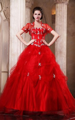 Flamboyant A-Line Ball Gown With Removable Bolero And Crystal Detailing