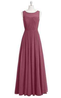 Sleeveless Chiffon A-Line Long Dress With Bateau Neckline and Pleats