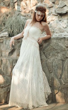 Straps Jersey Satin Lace Wedding Dress