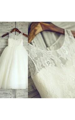 Light Ivory Lace Bodice Sleeveless Sweetheart Flower Girl Dress With Flower Belt