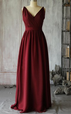 Floor-length V-neck Wine Red Chiffon Dress