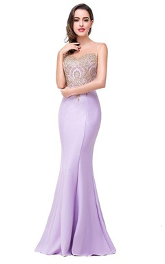 Stunning Sleeveless Satin Dress with Lace Appliques
