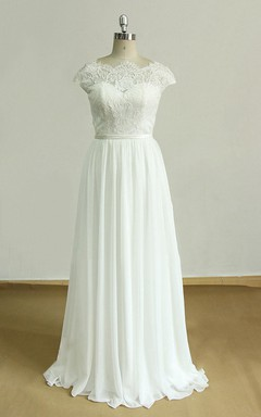 Cap Sleeve Backless Chiffon Lace Satin Dress With Sash Ribbon