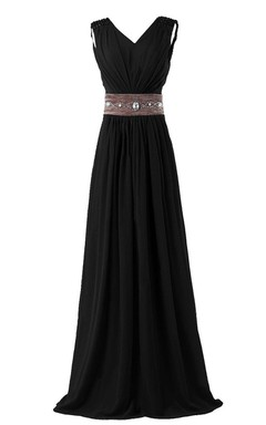 Sleeveless V-neck Long Chiffon Gown With Rhinestone