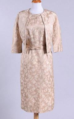 1950 Cream Brocade Vintage Wedding Ensemble Dress