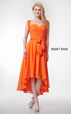 Sweetheart Ruched High Low Chiffon Dress With Convertible Straps