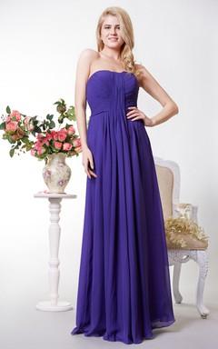 Open Back Chiffon A-line Long Dress With Pleats