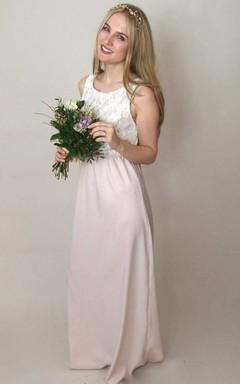 Floor-Length Satin Sash Ribbon Lace Wedding Dress