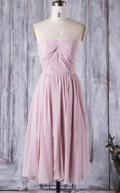 A-line Knee-length Strapped Sweetheart Chiffon Dress