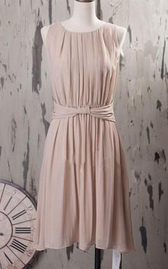 A-line Mini Tea-length Scoop Chiffon Dress