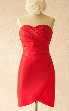 Red Satin Dress With Split Front&Split