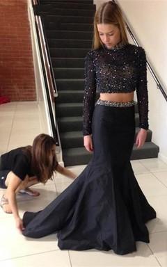 Sexy Beadings Black Two Piece 2016 Evening Dress Long Sleeve Mermaid High Neck