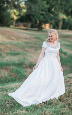 Modest Short Sleeve Beaded Square Neck Ruched A-Line Taffeta Wedding Dress