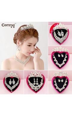 Korean Bride Diamond Crown Head Ornaments Three Sets Of Marriage Hair Accessories Wedding Dress Accessories