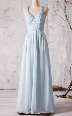 A-line Sleeveless Dress With Cross Back Straps and Sash