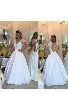 Elegant Short Sleeve 2016 Wedding Dresses A-Line Lace Appliques With Pearls