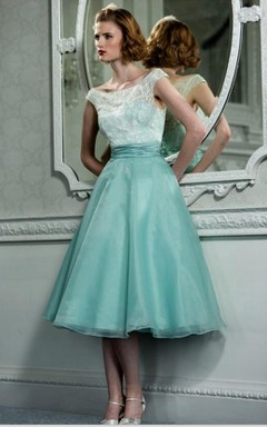 Off-the-shoulder Knee-length A-line Organza Dress With Lace Bodice
