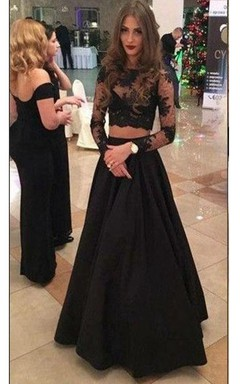 A-line Floor-length Long Sleeve Illusion Satin Lace Dress