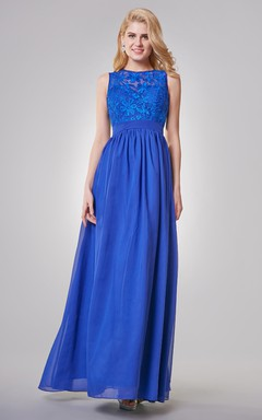Jewel Neckline A-line Long Chiffon Dress With Key-hole